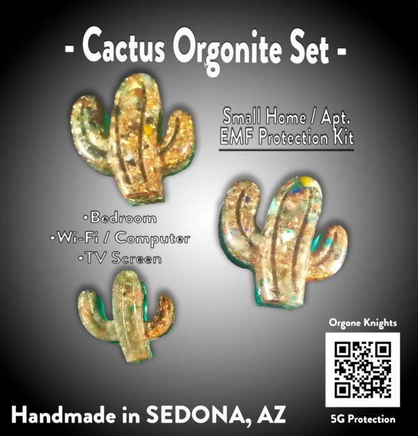 Set of Medium and Small Green Cactus Orgonite