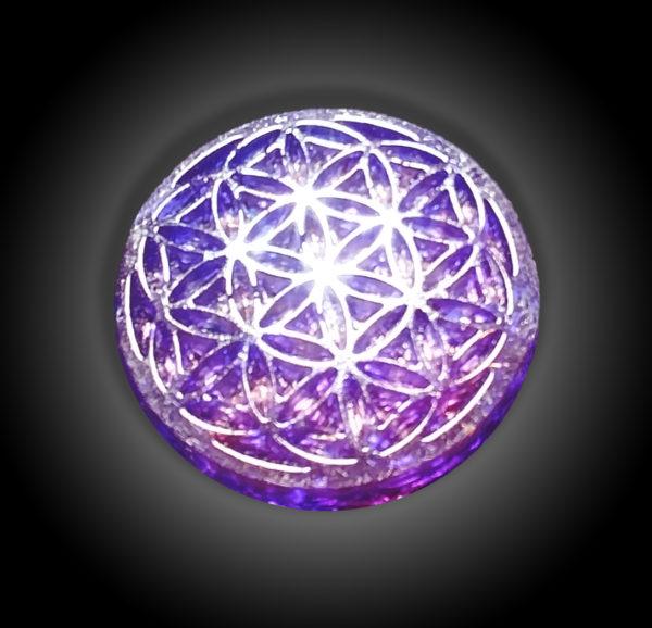 Flower of Life Purple Orgonite Disc