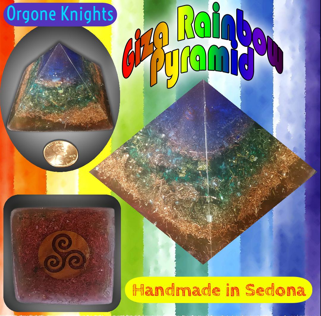 Small Rainbow Giza Pyramid Orgonite