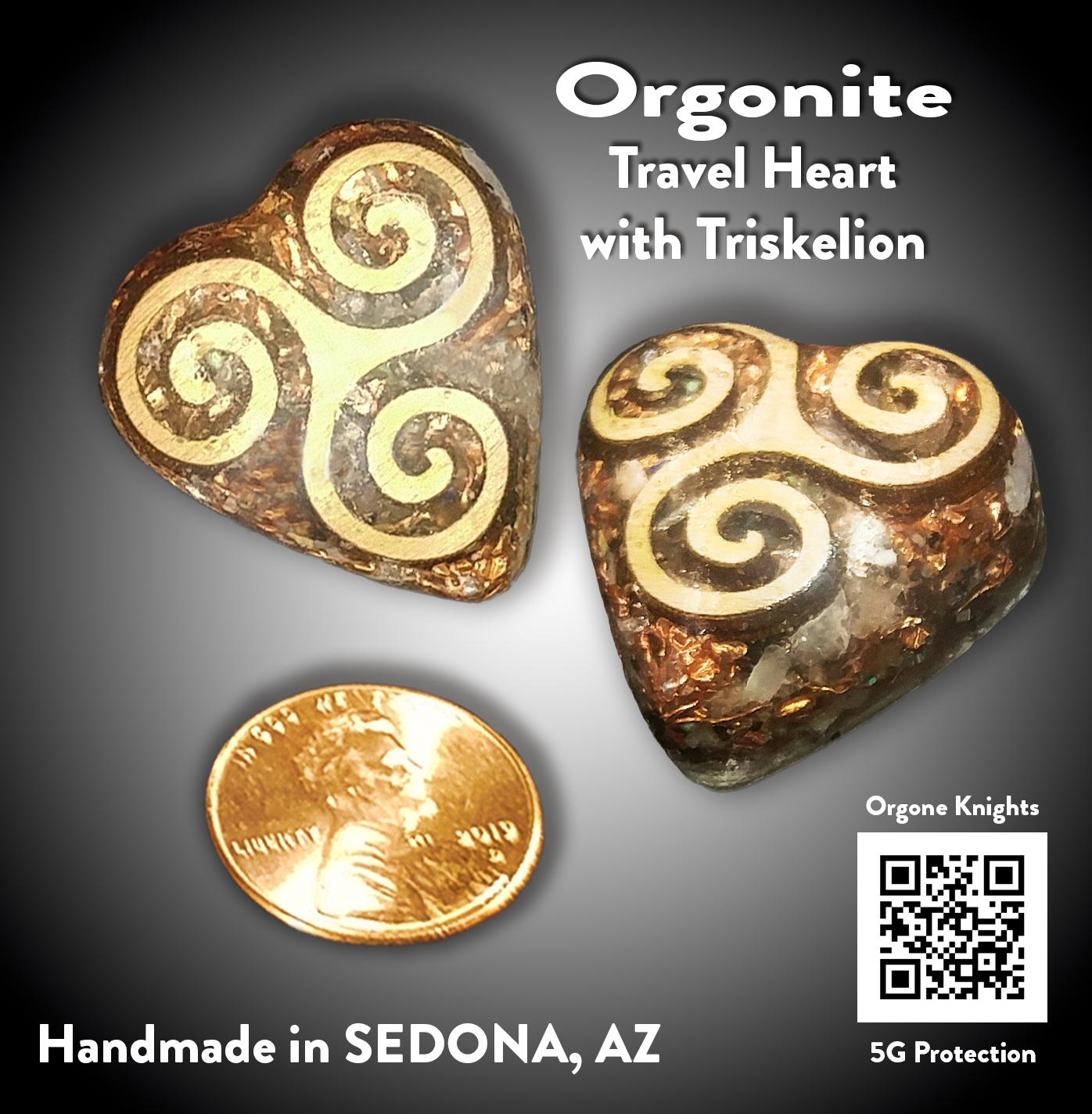 Travel Heart with Triskelion Orgonite
